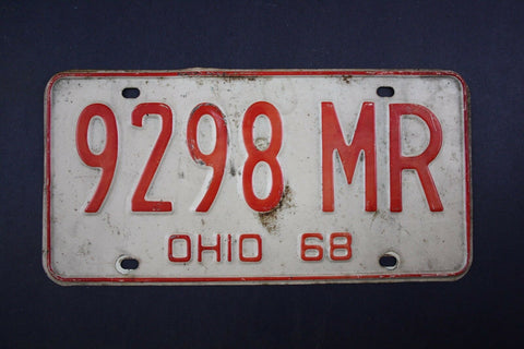 1968 Vintage Original Ohio License Plate 9298-MR