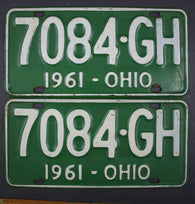 1961 Vintage Original Ohio License Plate 7084-GH PAIR