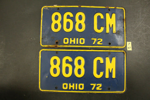 Vintage 1972 OHIO License Plate 868-CM PAIR (P-47
