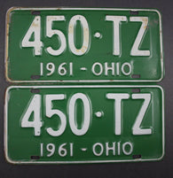 1961 Vintage Original Ohio License Plate 450-TZ PAIR
