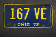1972 Vintage Original Ohio License Plate 167-VE