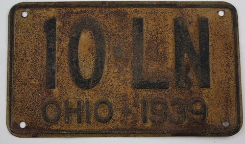 1939 Vintage Original OHIO License Plate 10-LN