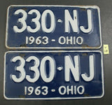 Vintage 1963 OHIO License Plates 330-NJ PAIR (W28