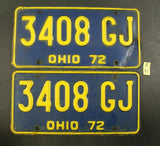 Vintage 1972 OHIO License Plate 3408-GJ PAIR (R-43