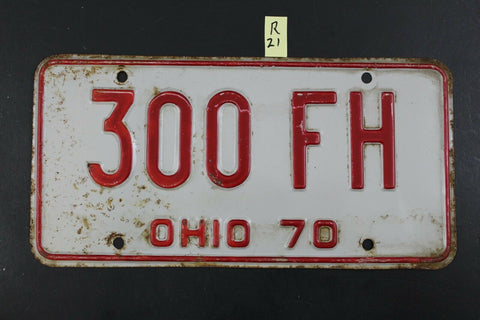 Vintage 1970 OHIO License Plate 300-FH (R-21