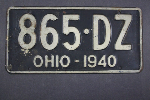 1940 Vintage Original Ohio License Plate 865-DZ
