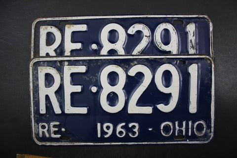 1963 Original Vintage Ohio License Plate RE-ISSUE PAIR RE-8291