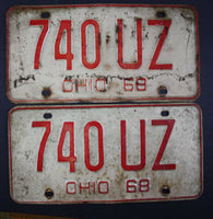 1968 Vintage Original Ohio License Plate 740-UZ PAIR
