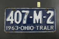 Vintage 1963 OHIO License Plate 407-M-2 Trailer TRALR (G36