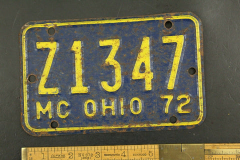 Vintage 1972 OHIO Motorcycle License Plate Z1347