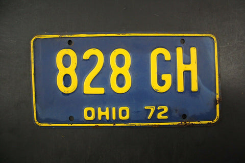 1972 Original Vintage Ohio  License Plate 828-GH