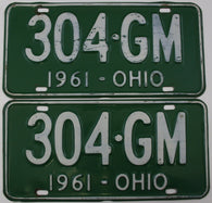 1961 Vintage Original OHIO License Plate   304-GM  PAIR