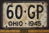 1945 Vintage Original OHIO License Plate Tag  60-GP
