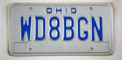 Vintage 1980 Original OHIO Amateur Radio License Plate WD8BGN