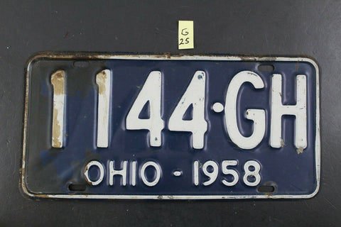 Vintage 1958 OHIO License Plate 1144-GH (G25