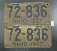 Vintage 1927 OHIO License Plate 72-836 PAIR (E16