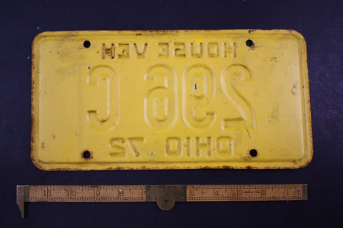 1972 Vintage Original OHIO License Plate 296-C HOUSE VEHICLE