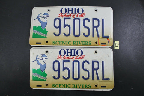 1996 OHIO License Plate 950-SRL PAIR Scenic Rivers (B26