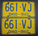 1960 Vintage Original Ohio License Plate 661-VJ PAIR
