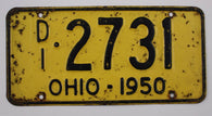 1950 Vintage Original Ohio License Plate Tag 2731 Master Dealer