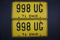 1971 Vintage Original Ohio License Plate 998-UG PAIR