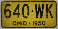 1950 Vintage Original OHIO License Plate Tag 640-WK - Aluminum Waffle