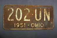 1951 Vintage Original Ohio License Plate 202-UN