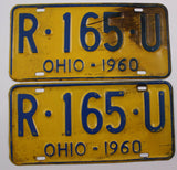 1960 Vintage Original OHIO License Plate PAIR R-165-U