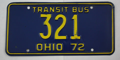 Vintage 1972 Original OHIO License Plate 321 TRANSIT BUS