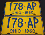 1960  Vintage  Original OHIO License Plate 179-AP PAIR