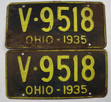 1935 Vintage Original OHIO License Plate Tag V-9518 PAIR