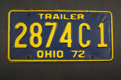 1972 Vintage Original Ohio License Plate 2874-C-1 TRAILER