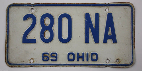 1969 Vintage Original OHIO License Plate 280 NA