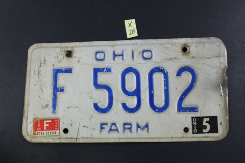 Vintage 1980 OHIO FARM License Plate F-5902  (X28)