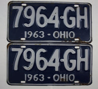 1963 Vintage Original Ohio License Plate 7964-GH PAIR