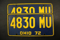 1972 Original Vintage Ohio  License Plate Pair 4830-MU