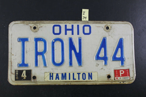 Vintage 1980 OHIO License Plate IRON-44 1985 Sticker I-34