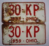 1959 Vintage Original Ohio License Plate 30-KP PAIR