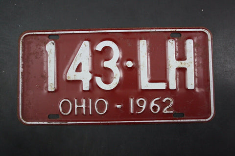 1962 Vintage Original OHIO License Plate 143-LH