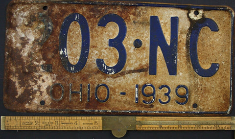 1939 Vintage Original OHIO License Plate 203-NC