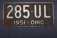1951 Vintage Original Ohio License Plate  285-UL