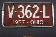 1957 Vintage Original Ohio License Plate  V-362-L