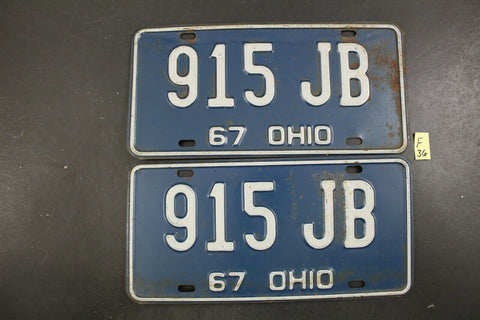Vintage 1967 OHIO License Plate 915-JB PAIR (F36