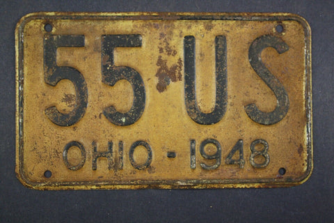 1948 Vintage Original Ohio License Plate 55-US