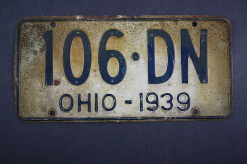 1939 Vintage Original Ohio License Plate 106-DN