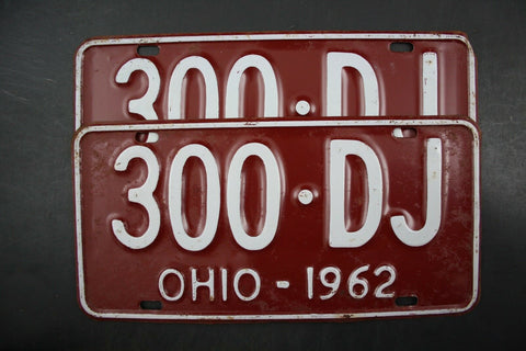 1962 Original Vintage Ohio License Plate PAIR 300-DJ