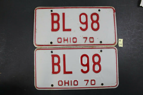 Vintage 1970 OHIO License Plate BL-98 PAIR (M34