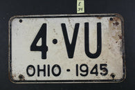Vintage 1945 OHIO License Plate 4-VU (E34