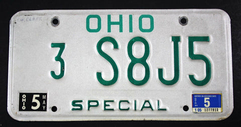 Vintage 1985 Original OHIO Special Dealer License Plate S8J5