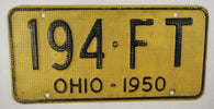 1950 Vintage Original OHIO License Plate 194-FT ALUMINUM WAFFLE